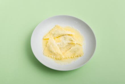 Geräucherte Aubergine in Pasta