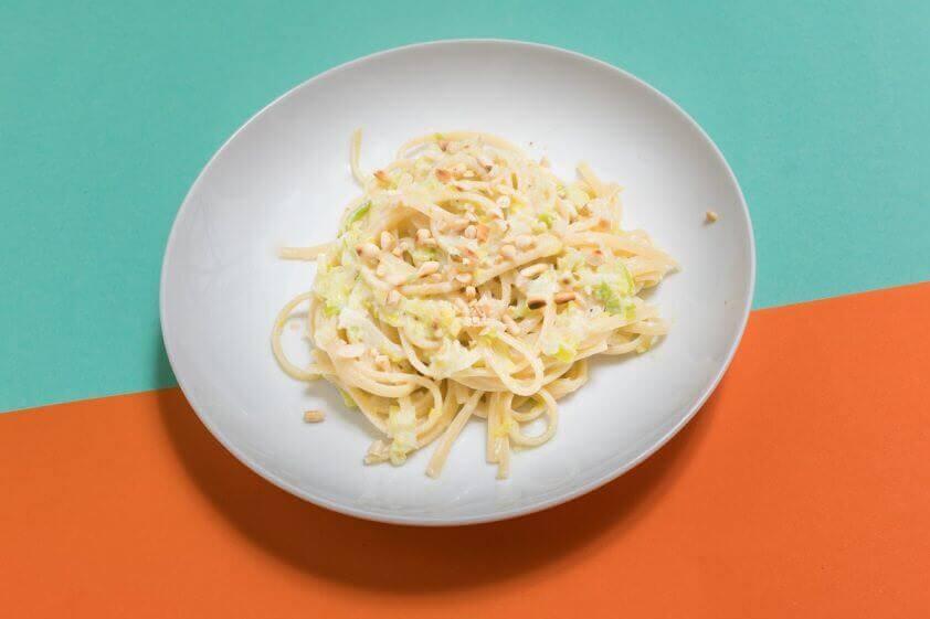 Spaghetti Porree Milch